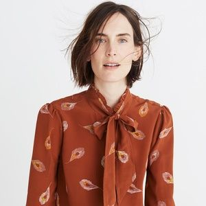 Silk Tie-Neck Ruffle Shirt in Peacock Feathers